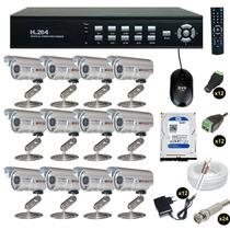 Kit Cftv Dvr 16 Ch + 12 Câmera Infravermelho Ccd Sony C2016