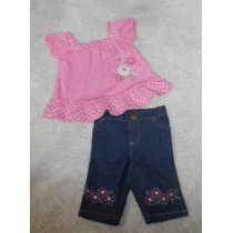 Baby Togs! Moderno Conjunto Jeans Y Blusa Rosa, 6-9 Meses