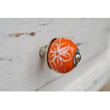 Tirador Perilla Esfera Cerámica Naranja Hojas Blancas 3cm