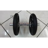 Kit Halter Montado Barra Oca 30cm + 10kg De Anilhas Peso