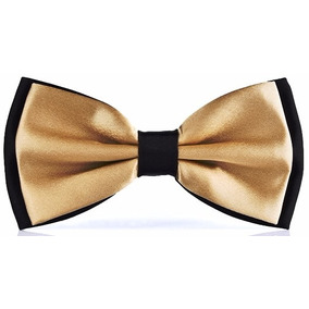 Gravata Borboleta Dupla Preta Com Dourado Exclusiva