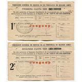 2 Recibos Rentas Provincia De Buenos Aires San Nicolas 1931