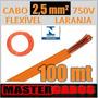 Cabo Fio Elétrico Flexível 2,5mm 750v Pvc 70ºc Laranja 100m