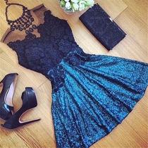 Vestido Azul Marino Sin Mangas Corte A De Encaje