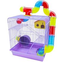 Gaiola Hamster 3 Andares Azul Com Tubo Sírio Russo Oferta