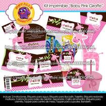 Kit Imprimible Invitaciones Recuerdos Babyshower Jirafa 2x1