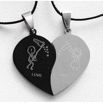 Corazón Partido Collar Dije Regalo Amor Novio Pareja Acero