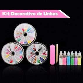 1 Kit Aplique Acessórios Decorativos Unhas Com 800 Itens