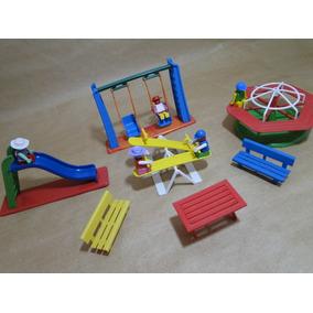 Parque Escorregador Gangorra Carrossel Com Os Bonecos Lego