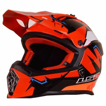 Casco Motocross Ls2 Mx437 Fast Explosive Orange Motos Miguel