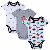 Kit Com 3 Body Para Bebê Infantil Roupa Menino Ou Menina