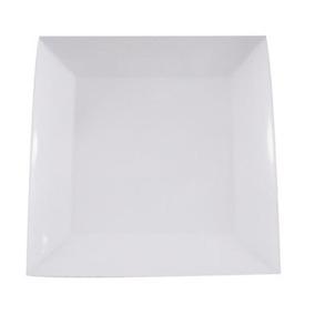 Prato De Melamina Quadrado Branco 26cm - 18 Unidades