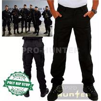 Calça Cargo Masculina Preta 6 Bolsos Reforçada Poly Rip Stop