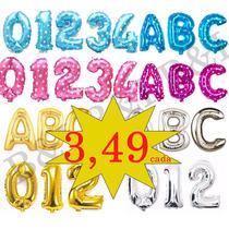 Balão Metalizado Dourado / Prata Letra E Numero 40cm A A Z