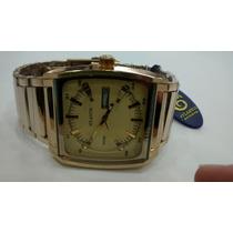 Relógio Original Atlantis Quadrado Em Aço Dourado
