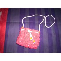 Carterita Para Nena , Tejida Al Crochet, Con Cordon Blanco