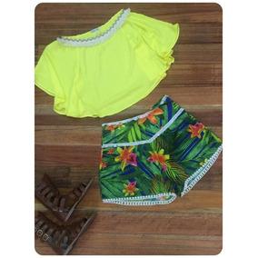 Conjunto Blusa Amarelo E Short Floral P