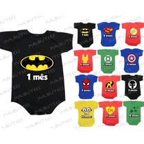 Body Herois Super Man Infantil Mês A Mês Mesversario Kit 12