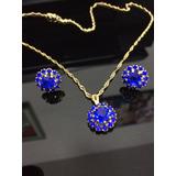 Brincos + Colar Pedras Azul Escuro Redonda Folheado Ouro 18k