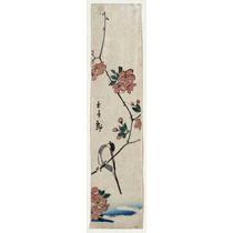 Lienzo Tela Escuela Utagawa Pájaro Rama Flores Japón 90x24cm