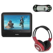 Tela Encosto Portátil 9 Pol Preta Dvd Usb Sd + Fone Tech One