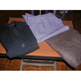 Lote De Camperita Pantalon Cuadrille Marron Y Pollera Grande