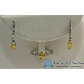 Anillo Y Aretes Diamante Marquise Amarillo Y Brillantes 1ct