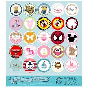 35 Stickers Etiquetas Pack Candybar Cortados Personalizados