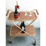 Mesa Carro Bar Rectangular Plegable/ Bronce Y Formica Habano