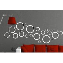 Conj Circulos Espelho Decorativo Para Sala Jantar - 21 Peças