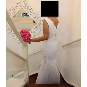 Vestido De Noiva Modelo Sereia Com Calda 40/42 Frete Gratis