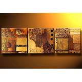 Cuadros Triptico Abstractos Modernos,poliptico Dorados Ocres