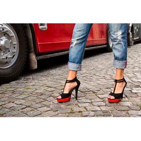 Zapatos Mujer Taco Fino. Fiesta, Moda. Gamuza Negra Y Rojo