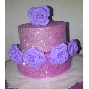 Flores Porcelana Fría Violeta Souvenirs Torta Novia 15 Años