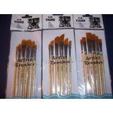 Kit-set De 18 Pinceles Pelo Sintetico-artistica Acrilico Ole