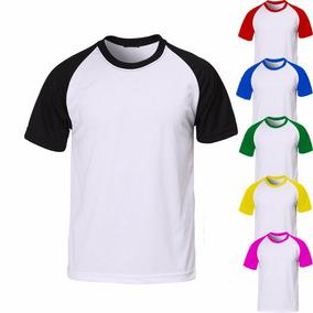 Camisa Camiseta Raglan Lisa Manga Curta 100% Algodão