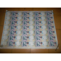 28 Billetes De 1 Peso En Plancha Sin Cortar