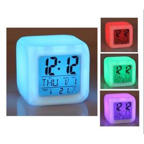 Reloj Led Cubo Digital 7 Colores Parpadeantes Anti Estres