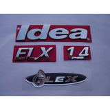 Kit Emblemas P/ Fiat Idea + Elx + 1.4 + Flex .../2010 ..