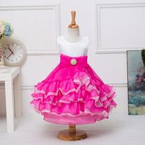 Vestido Infantil Crianca Festa Princesa Barbie Pink E Branco