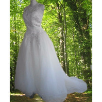 Gloria Vanderbilt Vestido De Novia Fino Tul Transparencias M