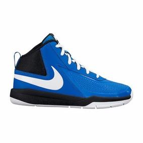 Tenis Bota Nike Infantil 22.5 25 Basquet Negro Azul En Caja