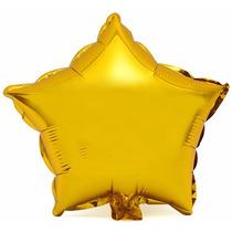 Balão Metalizado Estrela 22cm Kit Com 100 Balões Dourado