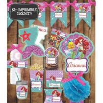 Kit Imprimible Sirenita Ariel Fiesta Infantil Princesas Bolo