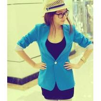 Saco Blazer Oficina Casual Cardigan Moda 2017 Talla S Y M