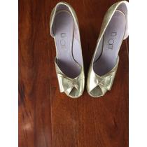Zapatos Lonte De Fiesta En Cuero Dorado Taco Semi Chino