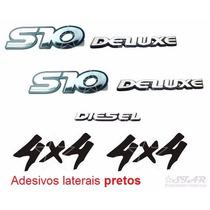 Emblemas S10 Deluxe + Diesel + 4x4 Pretos - 1995 À 1999