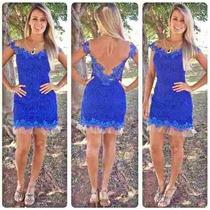 Vestido Em Renda Azul,fino E Elegante