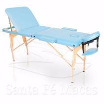 Mesa Maca De Massagem Dobrável Divã Portátil Estética Azul C