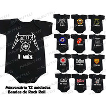 Body Banda De Rock Kit 12 Body Infantil Mês Amês Mesversario